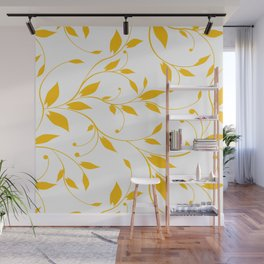 FLOWERY VINES | white yellow Wall Mural