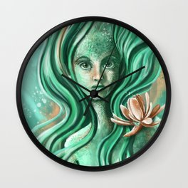 Submerged Waterlilly Wall Clock