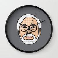 hayao miyazaki Wall Clocks featuring Hayao Miyazaki Portrait - Grey by Cedric S Touati