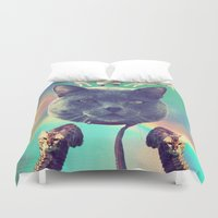 saga Duvet Covers featuring galactic Cats Saga 3 by Carolina Nino