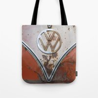 vw Tote Bags featuring Rusty VW by KitKatDesigns