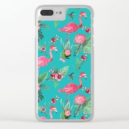 Santa Flamingo Christmas, Holiday Tropical Watercolor Clear iPhone Case