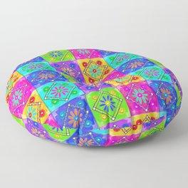 Boho Tapestry Tiles in India Silk Multi Floor Pillow