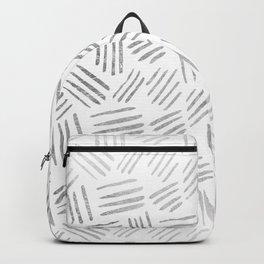 Elegant geometrical faux silver stripes pattern Backpack