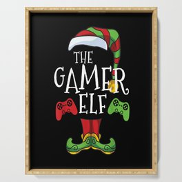 Gamer Elf Family Matching Christmas Group Funny Gift Pajama T-ShirT Serving Tray