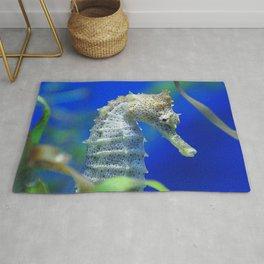 Awesome, Lyrical Sea Horse In Elegant Waters Rug