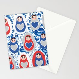 blue red gray Russian babushka dolls on a floral background Stationery Cards