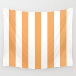 Rajah orange - solid color - white vertical lines pattern Wall Tapestry