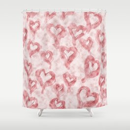 Pink Pastel Hearts on Watercolour Clouds Shower Curtain