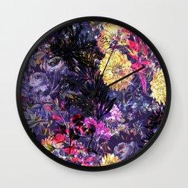 Purple painted night flower garden Wall Clock