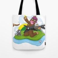 bigfoot Tote Bags featuring Bigfoot Rocks! by Peteman