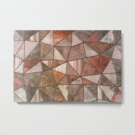 Stained Glass Triangles Ombre Metal Print