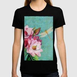 Verdigris Pink Magnolias T-shirt