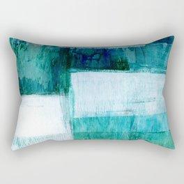Blue Green Geometric Abstract Painting Rectangular Pillow