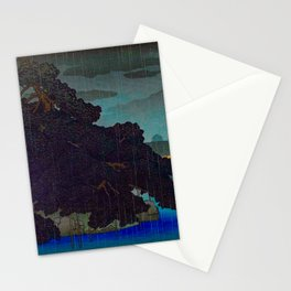 Vintage Japanese Woodblock Print Raining Landscape Tree On Rock Leaning Into The Lake Comforting Nig Stationery Cards