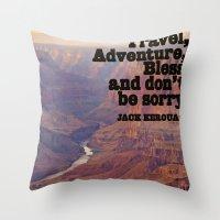 kerouac Throw Pillows featuring Kerouac by muffa
