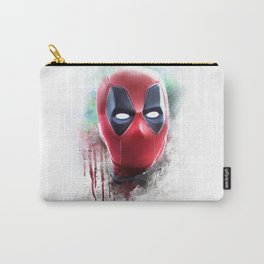 dead pool abstract watercolor portrait painting | Original Fan Art Carry-All Pouch