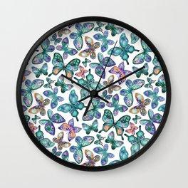 Watercolor Fruit Patterned Butterflies - Forest Green, Orange, Purple - custom request Wall Clock