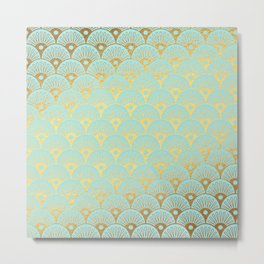 Art Deco Scales Pattern on aqua turquoise with Gold foil effect Metal Print