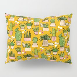 Cactus Cat Yellow Garden Pillow Sham