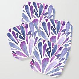 Watercolor artistic drops - purple and indigo Coaster
