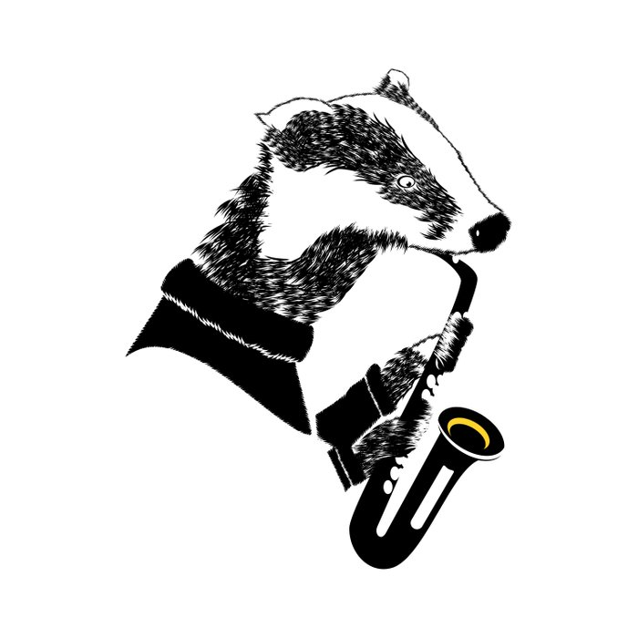 Badger Saxophone Duvet Cover
