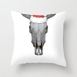 Christmas Cow Skull Wearing a Santa Hat Holiday Cowboy Christmas Pajamas Throw Pillow