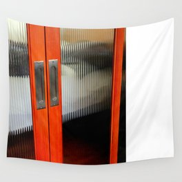Ribbed Glass Doors - A Half Made Bed Wall Tapestry