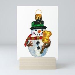 Watercolor Holiday Snowman Ornament Mini Art Print