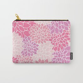 Dahlia Flowers, Petals, Blossoms - Pink Purple Carry-All Pouch