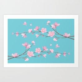 Cherry Blossom - Robin Egg Blue Art Print