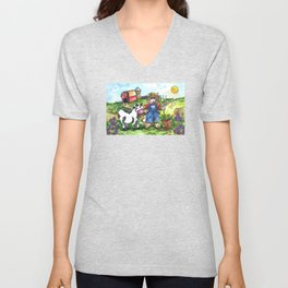 Farmer Fluffy at Harvest Time Unisex V-Neck