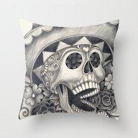 dia de los muertos Throw Pillows featuring Dia de Los Muertos by afzucatti