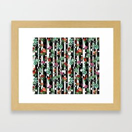 Cactus Flowers and Lines Framed Art Print