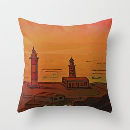 Good Morning / New and Old Lighthouse Fuencaliente La Palma Throw Pillow
