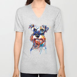Schnauzer Head Watercolor Portrait Unisex V-Neck