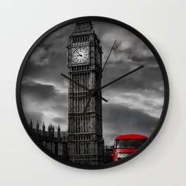 London - Big Ben with Red Bus bw red Wall Clock