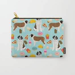 St. Bernard junk food fast food french fries dog breed pattern cute pet gifts Carry-All Pouch