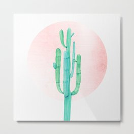 Desert Cactus Green with Rose Gold Sun Metal Print