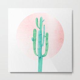 Desert Cactus Green with Rose Gold Sun Metal Print