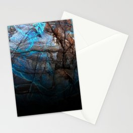Deep Blue Marble - Ombre black Stationery Cards