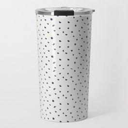 Hand painted black white watercolor polka dots brushstrokes Travel Mug