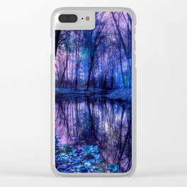 Enchanted Forest Lake Purple Blue Clear iPhone Case