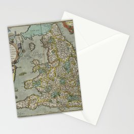 Vintage Map - Ortelius: Theatrum Orbis Terrarum (1606) - England and Wales Stationery Cards