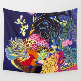El Gallo y El Gallo Pavo Wall Tapestry