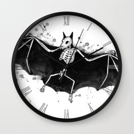 Skeletal Bat Wall Clock