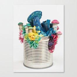 Bright Growth - Mushrooms on a Tin Can Canvas Print