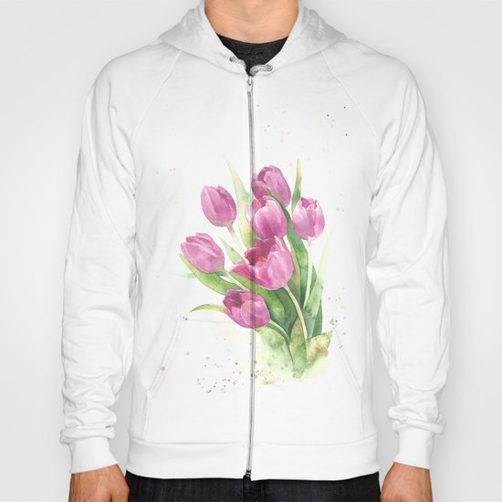 Watercolor bouquet of pink tulips Hoody