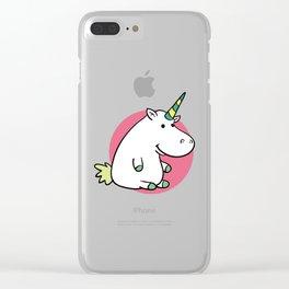 Fat unicorn Clear iPhone Case