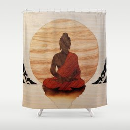 Buddha marquetry Shower Curtain